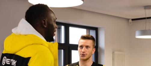 Usaint Bolt y Reus después del entrenamiento