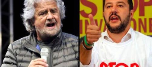 Beppe Grillo e il leader della Lega Matteo Salvini