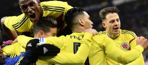 Celebración segundo gol de Colombia ante Francia