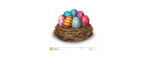 Easter eggs in a nest [image via Dreamstime.com]