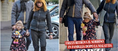 Fabrizio Frizzi a spasso con la moglie e la figlia