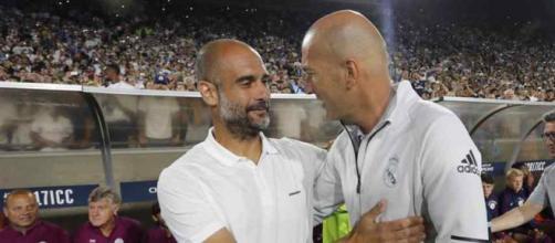 Pep Guardiola com Zinedine Zidane