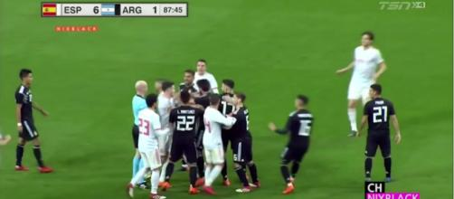 Tensions ran high in what was supposedly a friendly [image source: TSN/YouTube screenshot]