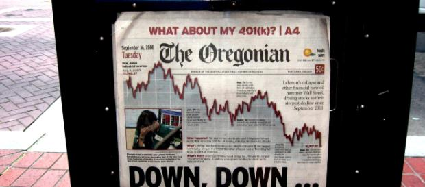 Newspaper front page on September 16th, 2008. - [Image credit: Todd Meckiem via Flickr]
