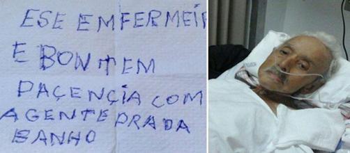 O bilhete emocionou a todos e mostrou todo o profissionalismo do enfermeiro.(foto reprodução).