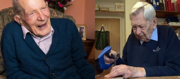 Alf Smith e Robert Weighton, os 2 homens mais velhos do Reino Unido com 110 anos.(foto reprodução)