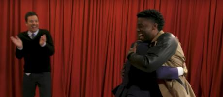 Boseman and fans hug it out during the 'Tonight Show.' - [The Tonight Show Starring Jimmy Fallon / YouTube screencap]