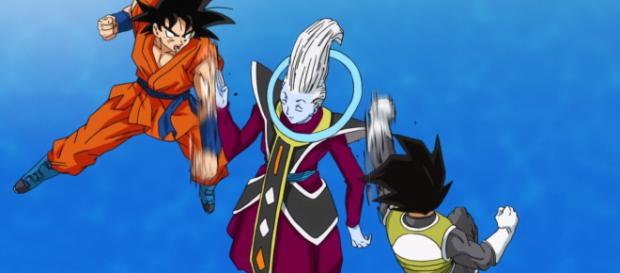 Goku and Vegeta training wih Whis on Beerus Planet. - [DbTR via YouTube screencap]