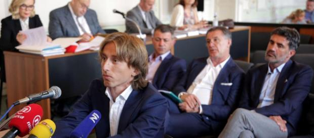 Luka Modric en la corte durante el juicio de corrupción el verano pasado