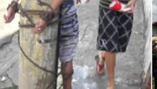Detento tentou roubar uma mulher e acabou sendo amarrado no poste; confira