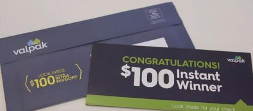 Some Valpak envelopes have $100 checks inside [Image: KHOU 11/YouTube screenshot]