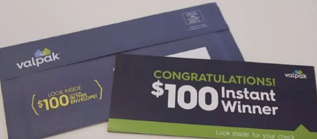 Some Valpak envelopes have $100 checks inside [Image: KHOU 11/YouTube screenshot]