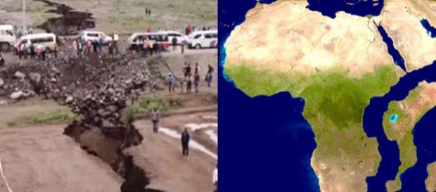 Se va rupe Africa în două ? Crăpătura din Kenia pare că indică acest fapt - Foto: Captură YouTube și post Twitter