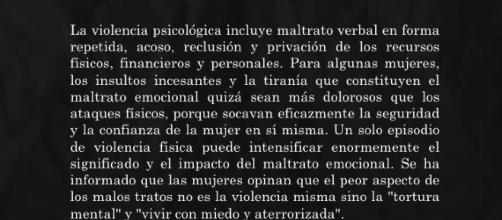 El maltrato psicológico, se considera violencia de género más grave que incluso físico