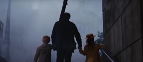 Bert escorts the children back home to their families. [Tony parra/Youtube screencap]