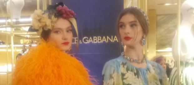 Dolce and Gabbana 'All The Lovers' Summer clothing collection at the Rinascente store Milan. Fruit headdress and jewels.