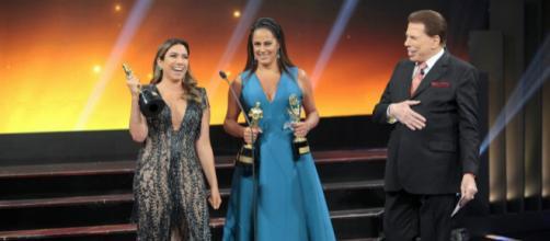 Silvio Santos Rebeca e Patrícia Abravanel no Troféu Imprensa