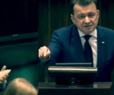 Mariusz Błaszczak podczas emocjonalnego przemówienia w Sejmie.