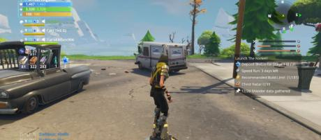"Cruising on a hoverboard in ""Fortnite"" - [Image Credit: YouTube/postboxpat screencap]"