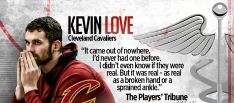 Kevin Love opens up about mental health in sports. [image source: CBS Los Angeles/Youtube screenshot]