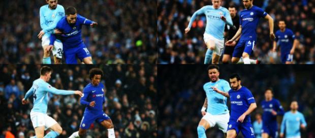 Eden Hazard deja el campo sin mirar de soslayo a Antonio Conte después de haber sido eliminado en la derrota por 1-0 en el Manchester City