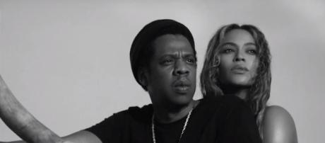 Jay-Z and Beyonce. - [image source: Clevver News / YouTube screenshot]