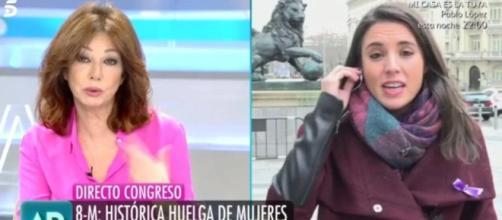 Ana Rosa Quintana e Irene Montero en imagen