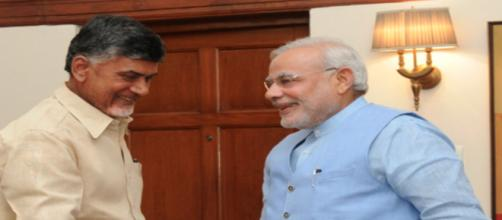 Chandrababu Naidu with Narendra Modi [Image Credit: Wikimedia Commons]