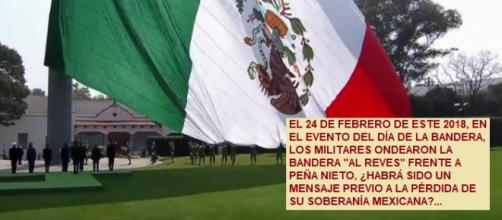 Mensaje oculto envían los militares al ondear la bandera mexicana al revés frente a Peña Nieto