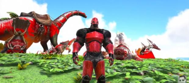 A screenshot from 'ARK: Survival Evolved' (Extinction Core) - YouTube/ KingDaddyDMAC