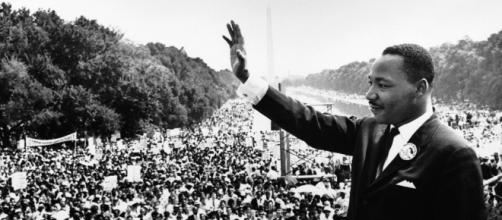 Dr. King taking the podium at the March for Jobs and Freedom. [image source: public domain]