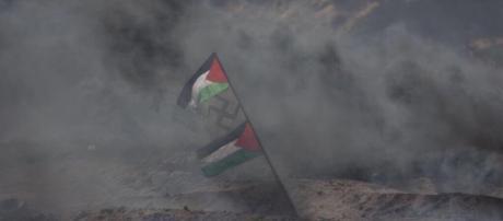 La bandiera con la svastica a Gaza