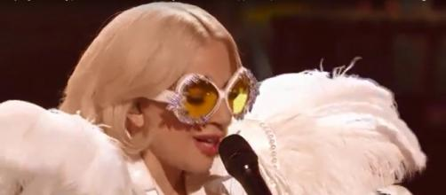 Lady Gaga's heart and voice filled Madison Square Garden for Elton John's Grammy tribute concert. [image source: LadyGagaMonsterBlog/YouTube]