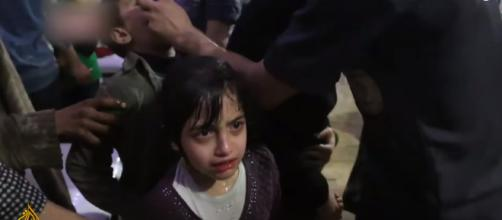 Suspected chemical attack kills 70 in Douma. [image source: Al Jazeera English - YouTube]