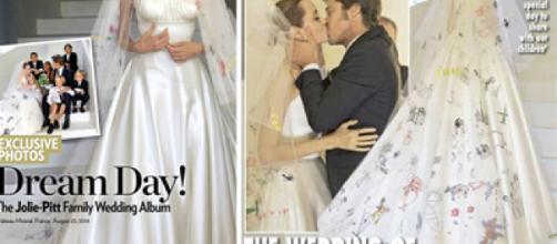 Angelina Jolie lució un regio vestido blanco con diseños infantiles creados por sus hijos el día de su boda.- casacondeso.es
