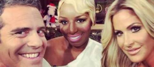Nene Leakes and Kim Zolciak join Andy Cohen on the set of 'WWHL.' [Photo via Instagram]