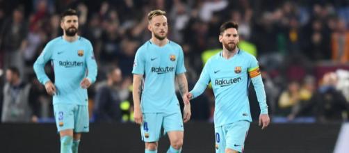 Rakitic, Messi e Piqué desolados