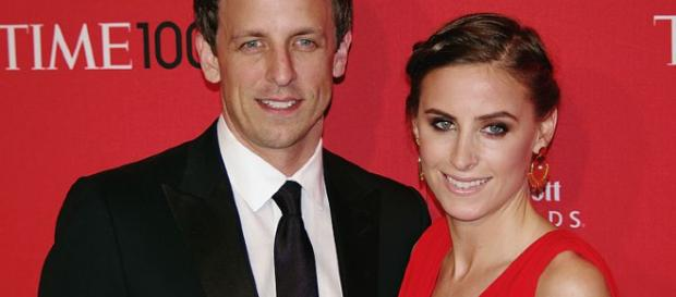 Seth Meyers and his wife. - [Image Via: David Shankbone / Wikimedia Commons]