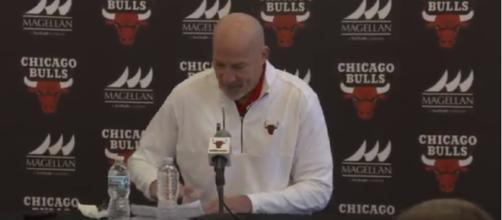 Bulls VP John Paxson addresses the media this morning - (image Credit: Chicago Bulls / Youtube)