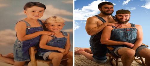Irmãos que recriaram suas fotos do passado