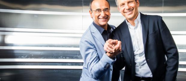Frizzi in coppia con Conti nel programma 'L'Eredità'.
