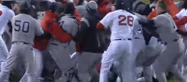 Punches were flying at Fenway between the Sox and Yankees [Image via JGart / YouTube Screencap]