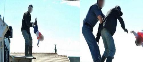 Um homem de 38 anos, que não teve a identidade revelada, chamou a atenção do mundo ao arremessar a filha de 1 ano do telhado de casa
