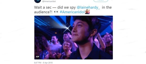 American Idol Laine Hardy seen in the Sunday show's audience - Image credit - American Idol | Twitter