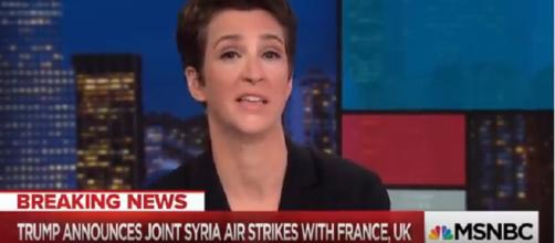 Rachel Maddow from 'The Rachel Maddow Show' announcing Trump air strikes on Syria. - [MSNBC / YouTube screencap]