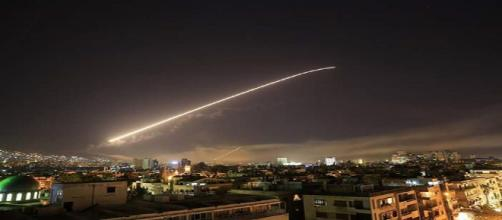 Rooftop photo of missile in Syria (photo by civilian)
