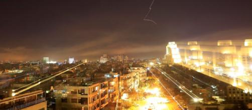 US missiles at night as seen in Damascus- Photo-( image credit-Mercury news/youtube.com)