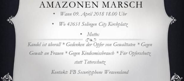 Einladung zum ersten Marsch der Amazonen in Solingen