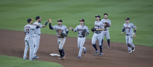 Houston Astros celebrate / Photo via Keith Allison, flickr