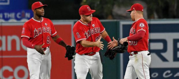 Angels in the outfield. [Image via MLB.com/YouTube]